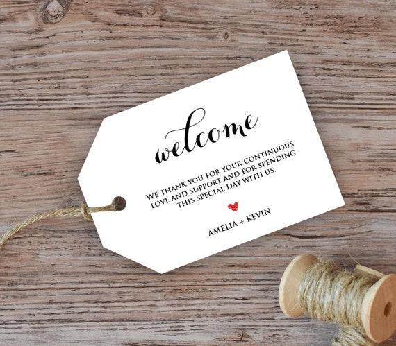Wedding Gift Bag Tags Template : Wedding Welcome Tag, Welcome Bag Tag, Favor Tag, DiY Kraft Printable ...