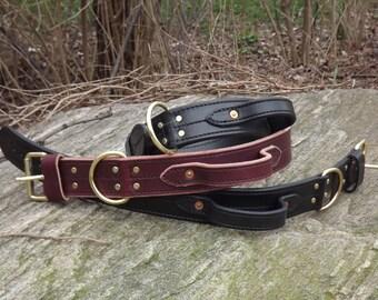 "2"" Handmade Leather Dog Collar with Handle"