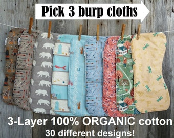 Burp cloths, Organic burp cloth, Baby girl gift, Baby boy gift, Woodland baby, Beach baby, Organic baby gift, Ocean baby,100% Organic cotton
