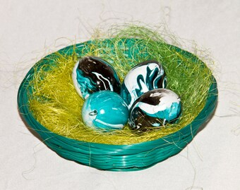 Decorative Easter eggs (Easter Easter decorations Easter decoration) Kunststoffei of set of 4