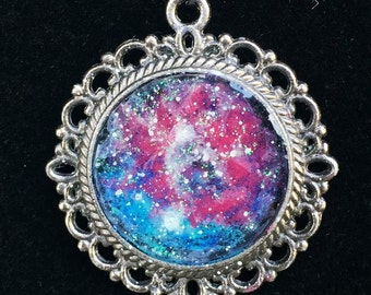 Glow in the dark Galaxy Pendant-Pink and Blue