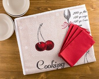 Retro Tablecloth And Napkins, Retro Table Set, Vintage Inspired Tablecloth, Cherry  Tablecloth,