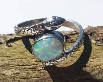 Silver Snake Ring set with gorgeous australian fire opal [Size 7.5US]