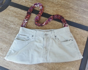 Khaki Pants Purse with Paisley Print Liner and Braided Handle