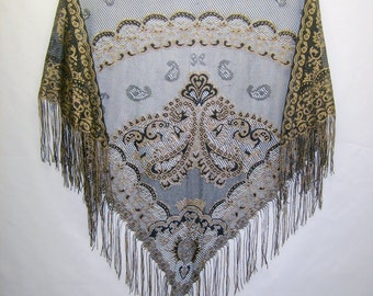 1980s Gold and Black Paisley Lace Wrap
