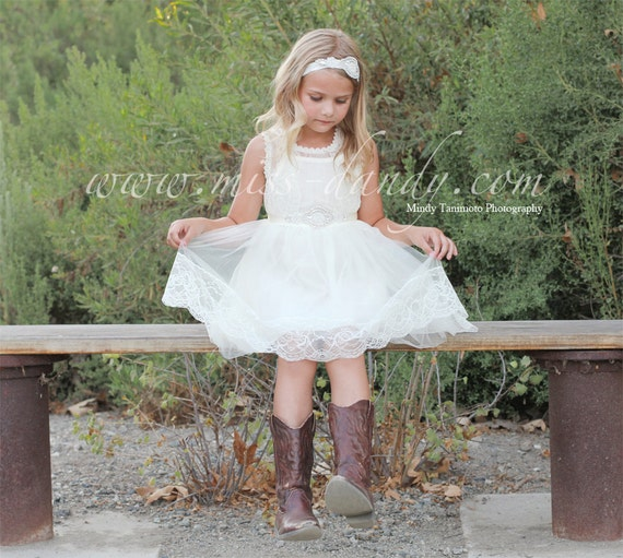 Grace Dress - White Flower Girl French Lace & Rhinestone Sash Dress, Shabby Chic dress, Bohemian dress, flower girl dress, Birthday dress