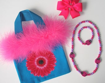 Girls Turquoise Canvas Tote Bag Gerbera Daisy Flower Applique Grosgrain Bow Beaded Acrylic Necklace Bracelet Feather Boa Trim