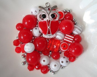 Bead Kit Bubblegum Chunky Striped Beads Red Enameled Owl Charm Pendant
