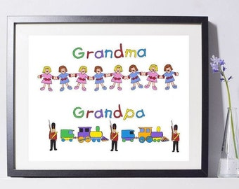I Love Grandma & Grandpa Art Painting PSNY - Home Decor