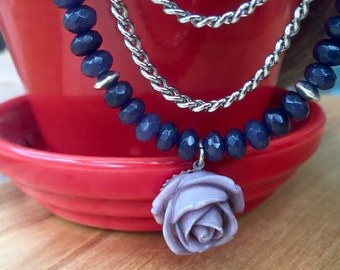 Lavendar rose pendant necklace with strand of sapphire and two chains