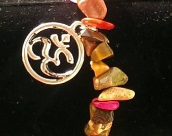 Mixed Gemstone bracelet with OM charm