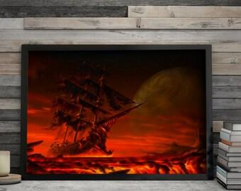 Printable Fractal Art The Way to the Sea Devil Print Sailfish Lover Sailing Ship Boat Print Wall Home Decor Digital Art Instant Download