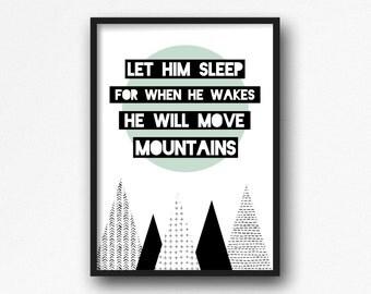 Let him sleep Print. Nursery. Kids room. Modern.