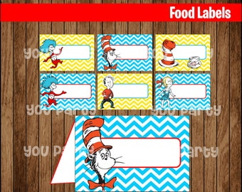 80% OFF SALE The Cat in the Hat Food Tent Cards instant download, Printable Dr Seuss Labels,  thing 1 and 2 Party Table Label