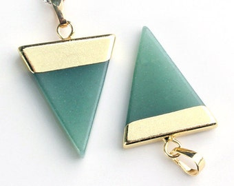 Green Aventurine Triangle Pendant With Gold Capped