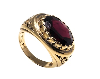 Gold ring, Vintage Gold Ring, Garnet Ring, 14k Gold Vintage Ring, Garnet Gemstones, Special Gold Ring, Gold Jewelry, Real Gold Ring