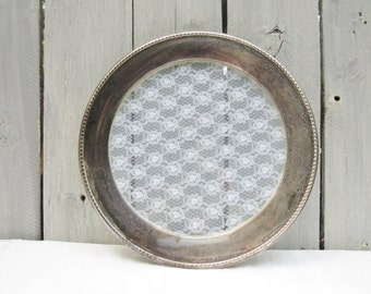 Silver and Lace Round tray, Silver Plate Shabby chic lace serving plate, Glass lace cottage chic serving platter, 14 inch silver drink tray