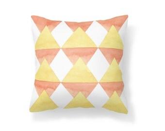 Throw Pillow Geometric, Decroative Pillow, yellow pillow, white pillow, orange pillow