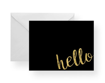 Note Cards Hello (Set), black note cards, gold note cards, black stationery, gold stationery, hello card, folded cards