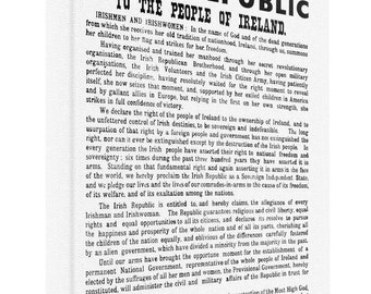 A print of the 1916 Irish Proclamation of Independence