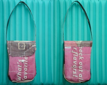 Handbag made from recycled banner - Purse - Unique item - Pocket for phone