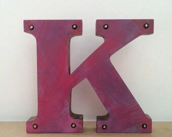 Wooden  letters, Standing letters, Letter K