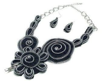 Haute Couture Runway Statement Black Silver Bib Necklace and Earring Set.  Eco-fashionable too!