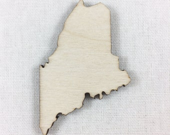 Maine State Wood Laser Cut Shape, Wood Maine Cut Out, DIY Laser Cut Craft Supply, Many Size Options, Wood States