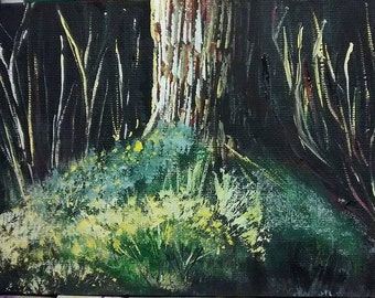 5x7 acrylic painting moonlit tree