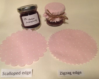Jam jar covers Wedding X 50 + twine/bands/labels 3 sizes avalible Scalloped or zig zag