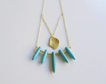 Turquoise Spikes & Gold Leaf Necklace