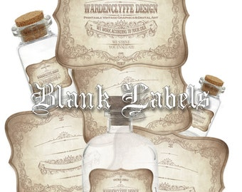 "Printable Blank Apothecary Labels,(3"" x 2.5"") Vintage Bottle-Jars Labels, Instant Download"