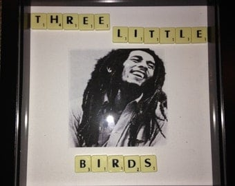Bob Marley print with scrabble lyrics wall art picture frame gift music