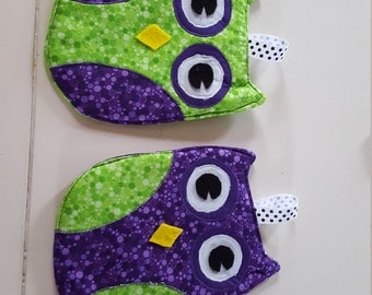 Purple and Green insulated owl pot holders