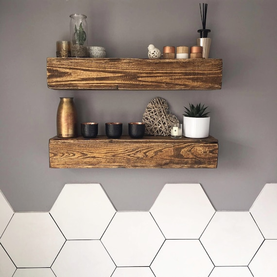 Wooden pallet floating shelf create your own size by haybeno for Pallet floating shelves