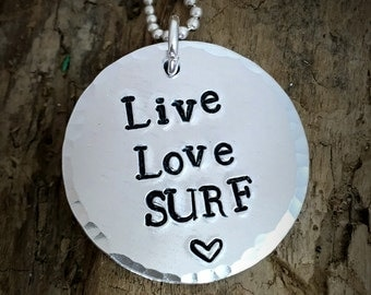 Hand Stamped Surf Necklace, Surf Pendant Necklace, Beach Jewelry
