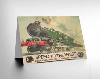 Travel Gwr Railway Rail Train Steam Engine Wales Uk Retro Greetings Card CL1167