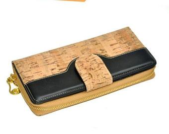 Cork hobo wallet, cork wallet women, vegan wallet women,vegan ladies wallet, vegan leather wallet, wood purse, vegan purse, cork purse women