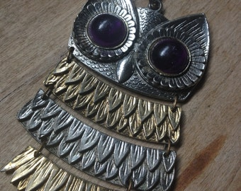 Vintage Duotoned 70s Segmented Owl Necklace