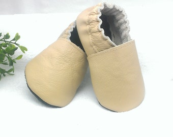 Beige soft sole leather baby shoes, leather baby shoes, soft soled baby shoes, baby slippers, toddlers moccasins, crib shoes