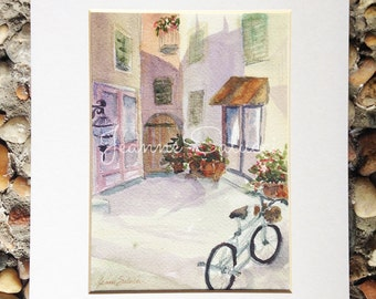 Original Watercolor Art work, Italian Village, Street, Bicycle