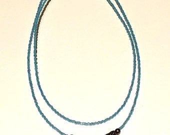 Double Baby Blue Cross Necklace