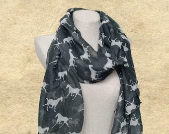 Womens scarf shawl, Spring summer scarf, Horses print scarf, Dark gray scarves, Cotton scarf wrap, Trendy womens scarf, Animal print scarf,