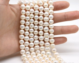 White freshwater pearl 8-9mm potato ringed pearls, drilled 0.7mm to 2.5mm large hole pearls, genuine freshwater pearl, full strand, FQ700-WS