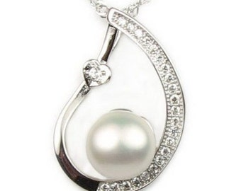 White pearl pendant, charm natural pearl pendant, freshwater pearl 925 sterling silver necklace, wedding pearl jewelry, 8-9mm, F2725-WP