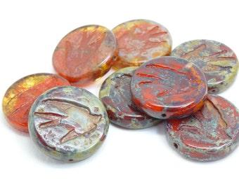 3 x 23mm focal red green czech glass beads| vintage style beads | czech beads| artisan focal bead