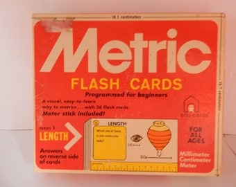 Vintage 1976 Metric Flash Cards