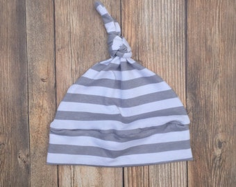 Knotted Beanie Hat - Gray Stripe - Baby Knotted Beanie - Knotted Beanie - Baby Hat - Baby Boy Hat - Baby Beanie