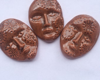 3 Unique Dark Terra Cotta Ceramic Face Tiles Can Be Used In Mosaics And Other Mixed Media Projects