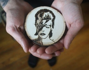 David Bowie wood-burned wall hanging